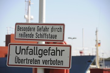 Danger signs, shipping, Brunsbuttel, Kiel Canal, Schleswig-Holstein, Germany, Europe