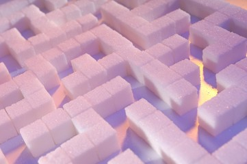 Maze made from sugar cubes, abstract background