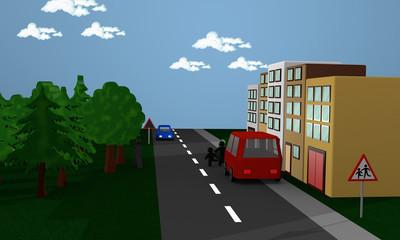 Straßenszene in der Kinder hinter einem Auto stehen und auf die Straße rennen. Mit dem deutschen Gefahrenzeichen Kinder.