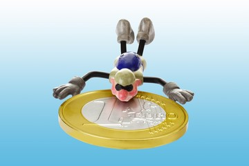 Cartoon character, parachutist jumping with a euro coin in free fall