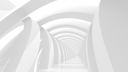 Futuristic white corridor with abstract columns and bright light. 3D Rendering.