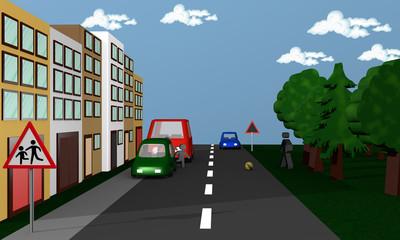 Straßenszene in der Kinder zwischen Autos hindurch einem Ball hinterher auf die Straße rennen.