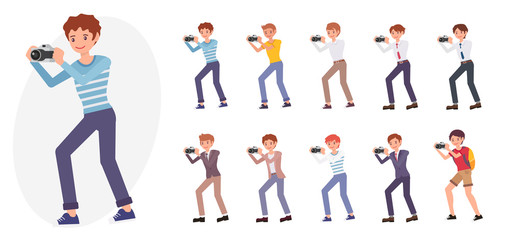 Cartoon character design male young man take picture with camera collection