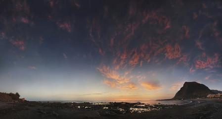 Evening glow with bizarre clouds on the beach of Playa de Valle Gran Rey, La Gomera, Canary Islands, Spain, Europe