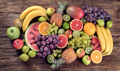 Fruits background. Healthy diet eating concept