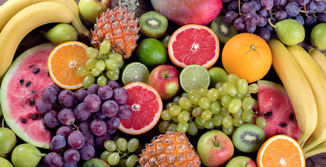 Fruits background. Healthy eating concept. Flat lay.