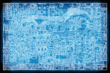 Circuit board blueprint background