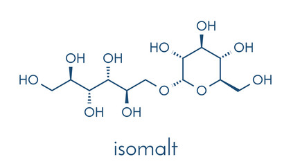 Isomalt sugar substitute molecule (one of two components shown). Skeletal formula.