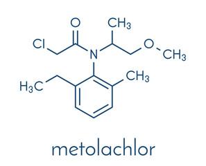Metolachlor herbicide (weed killer) molecule. Skeletal formula.