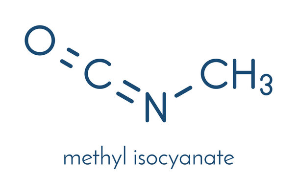 Methyl isocyanate (MIC) toxic molecule. Important chemical that was responsible for thousands of deaths in the Bhopal disaster. Skeletal formula.