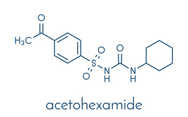Acetohexamide diabetes drug molecule. Skeletal formula.