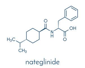 Nateglinide diabetes drug molecule. Skeletal formula.