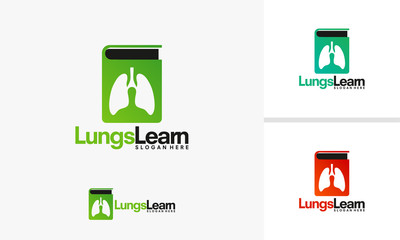 Lungs Learn logo template, Lungs Book logo designs vector