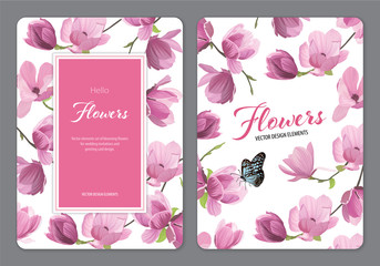 Magnolia flowers with a butterfly on white background. Vector set of blooming floral for wedding invitations and greeting card design.
