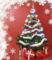 Decorated Christmas tree with gifts, snowflake pattern