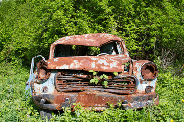 old rusty car at garden