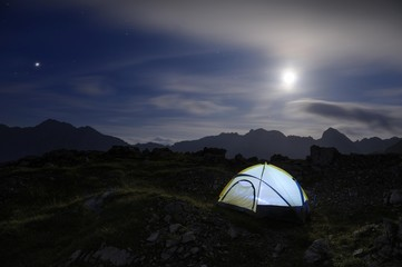 Bivouac tent with a full moon and mountain range, Hinterhornbach, Lechtal, Ausserfern, Tyrol, Austria, Europe