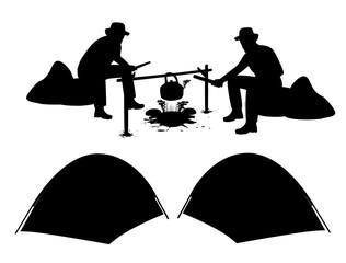 silhouette cartoon camp shape vector design