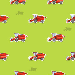 Seamless pattern with farm combine for your design