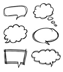Speech bubble with brush stroke isolated on white background