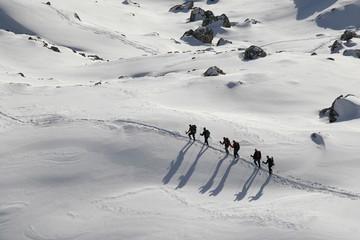 Winter landscape with mountaineers, Lechquellengebirge, Lechquellen range, Vorarlberg, Austria, Europe