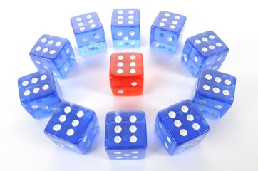 Dice, symbolic picture for mobbing, isolation, loner, intimidation, aggression