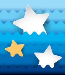 Three stars on blue wavy background