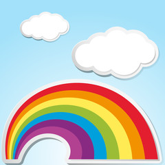 Background scene with rainbow in the sky