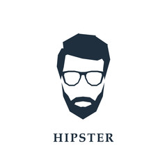 Avatar of a hipster head with glasses. Vector illustration.