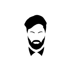 Avatar of a gentleman with a beard and mustache. Vector illustration.