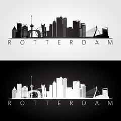 Zelfklevend Fotobehang Rotterdam Rotterdam skyline and landmarks silhouette, black and white design, vector illustration.