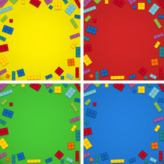 Four background templates with colorful blocks