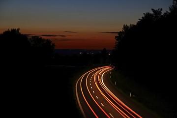 Light trails, dusk, highway, federal road B30, near Biberach, Upper Swabia, Baden-Wuerttemberg, Germany, Europe