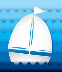 Sailboat sailing at sea
