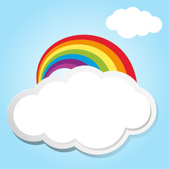 Rainbow and clouds in blue sky