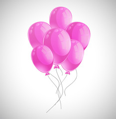 Lots of pink balloons on white background