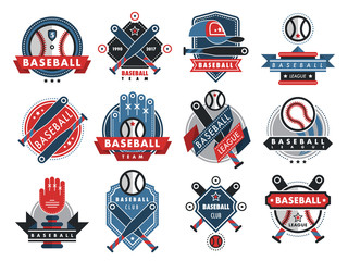 Baseball logo badge sport team or club vector template illustration