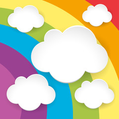 Blank fluffy clouds on rainbow background