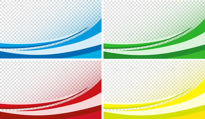Curved background effect in red, blue, green and yellow
