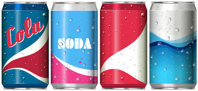 Different can designs for soda drinks