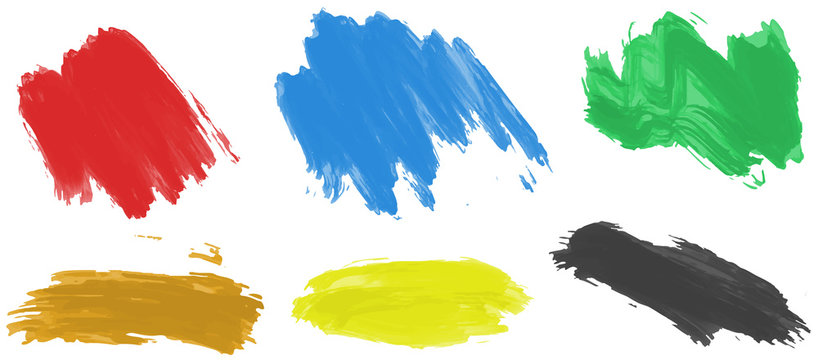 Brushstrokes for acrylic paint in six colors