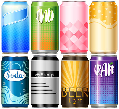 Eight aluminum cans with different designs