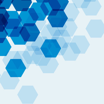 Background template with blue hexagons