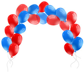 Blue and red balloons on white background