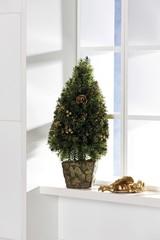 Christmas tree decoration on a windowsill
