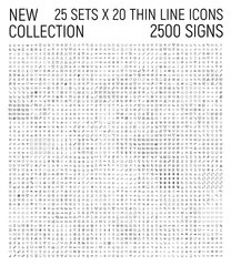 Big collection of 25 sets thin line icon.