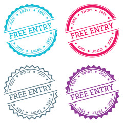 Free entry badge isolated on white background. Flat style round label with text. Circular emblem vector illustration.