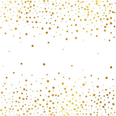 Festive explosion of confetti. Gold glitter background. Golden dots. Vector illustration polka dot .