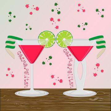 Vector illustration logo for alcohol cocktails martini cosmopolitan