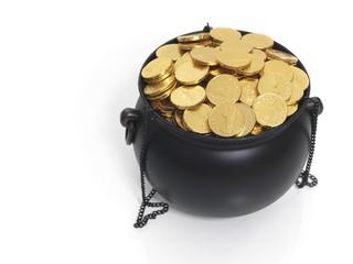 Cauldron full of money, fake golden coins